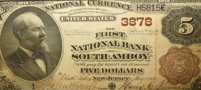 First National Bank of South Amboy $5 bill